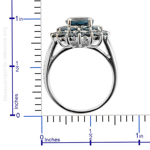 London Blue Topaz (Ovl 4.50 Ct) Ring in Platinum Overlay Sterling Silver 7.500 Ct.