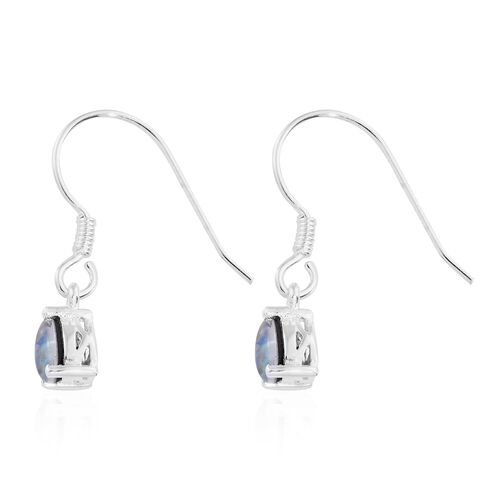 Australian Boulder Opal (Pear) Drop Hook Earrings in Sterling Silver