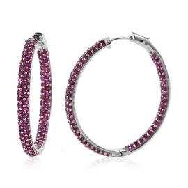 Burmese Ruby (Rnd) Hoop Earrings (with Clasp) in Platinum Overlay Sterling Silver 7.650 Ct. Silver wt 13.50 Gms. Number of Gemstone 180.
