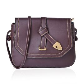 Chocolate Colour Crossbody Bag with Shoulder Strap (Size 21.5x17x6.5 Cm)