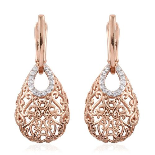 J Francis - Rose Gold Overlay Sterling Silver (Rnd) Filigree Earrings (with Latch Back) Made with SWAROVSKI ZIRCONIA.Total Silver Wt 8.00 Gms