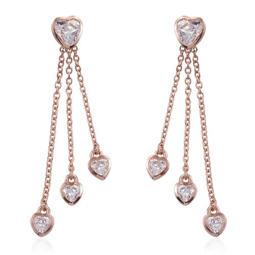 J Francis - Rose Gold Overlay Sterling Silver (Hrt) Earrings (with Push Back) Made with SWAROVSKI ZIRCONIA