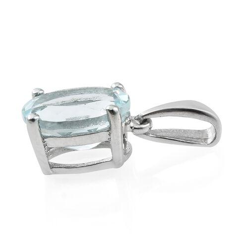 1.25 Ct Espirito Santo Aquamarine Solitaire Pendant in Platinum Plated Silver