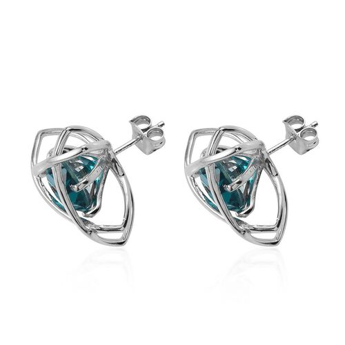 Capri Blue Quartz (Rnd) Stud Earrings (with Push Back) in Platinum Overlay Sterling Silver 8.500 Ct.