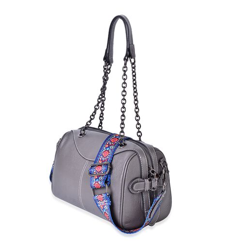 Genuine Leather Grey Colour Tote Bag with Chain Handles and Colourful Removable Shoulder Strap (Size 26X21X15 Cm)