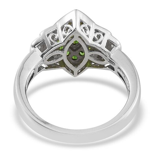 Russian Diopside (Mrq 0.50 Ct), Natural Cambodian Zircon Ring in Platinum Overlay Sterling Silver 1.250 Ct.