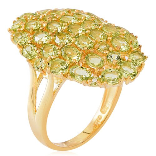 Hebei Peridot (Ovl) Cluster Ring in 14K Gold Overlay Sterling Silver 6.250 Ct. Silver wt 6.15 Gms.