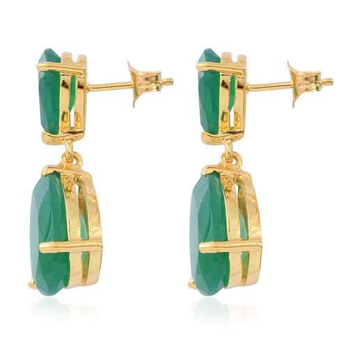 Verde Onyx (Pear) Earrings (with Push Back) in 14K Gold Overlay Sterling Silver 12.000 Ct., Silver wt 3.92 Gms.