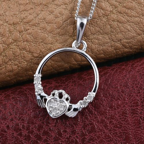 Diamond Claddagh Pendant With Chain in Platinum Overlay Sterling Silver.