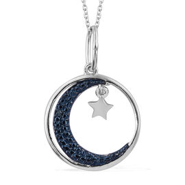 Designer Inspired-Blue Diamond (Rnd) Moon and Star Pendant with Chain (Size 20) in Platinum Overlay Sterling Silver