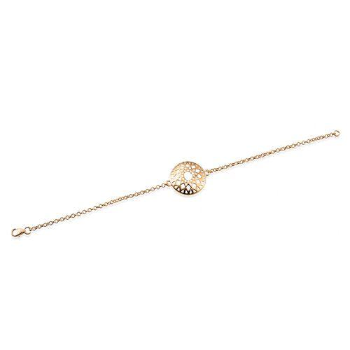 14K Gold Overlay Sterling Silver Heritage Cut Work Bracelet (Size 7.5), Silver wt 3.95 Gms.