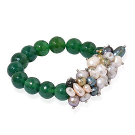 Green Agate and Fresh Water Multi Colour Pearl Stretchable Bracelet (Size 7.5) 250.000 Ct.