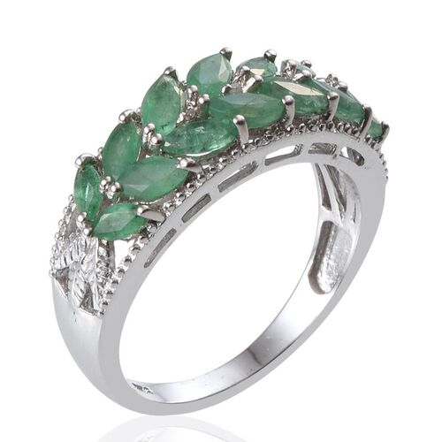 Kagem Zambian Emerald (Mrq), Diamond Ring in Platinum Overlay Sterling Silver 1.530 Ct.
