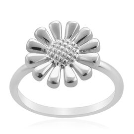 LucyQ Floral Ring in Rhodium Plated Sterling Silver