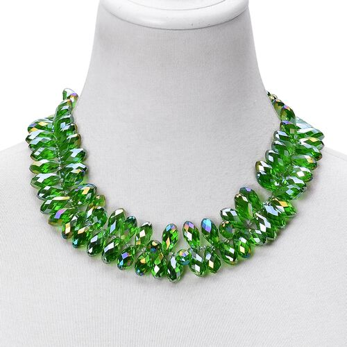 Simulated Emerald Beads Necklace (Size 20 with 2 inch Extender) in Stainless Steel