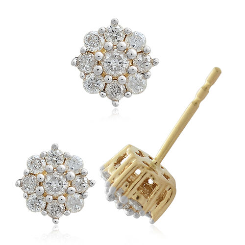 1/2 Carat Diamond Floral Pendant and Stud Earrings Set in 9K Gold (with Push Back) SGL Certified (I3/G-H)