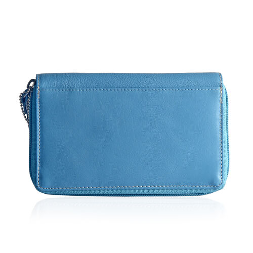 Designer Inspired - 100% Genuine Leather RFID Blocker Flower and Bird Pattern Blue Colour Wallet with Multiple Card Slots (Size 16X10.5X3 Cm)
