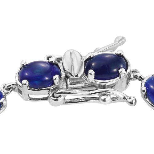 Blue Ethiopian Opal (Ovl) Bracelet (Size 7.5) in Platinum Overlay Sterling Silver 5.000 Ct.