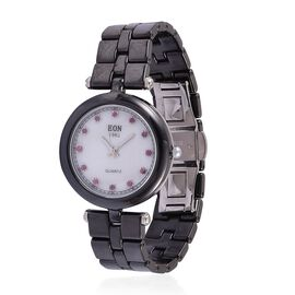 EON Black Ceramic SWISS MOVEMENT Burmese Ruby Studded Mother of Pearl Sapphire Glass Watch