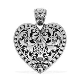 Royal Bali Collection Sterling Silver Filigree Heart Pendant, Silver wt 6.27 Gms.