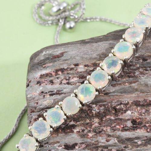 Ethiopian Welo Opal (Rnd) Adjustable Bracelet (Size 6.5 to 8) in Platinum Overlay Sterling Silver 3.500 Ct.