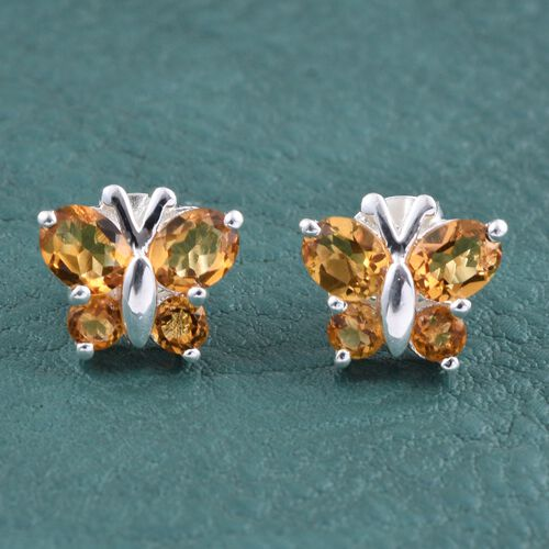 Citrine (Ovl) Butterfly Earrings (with Push Back) in Sterling Silver 1.500 Ct.