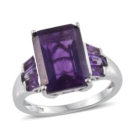 Amethyst (Oct 7.25 Ct) Ring in Platinum Overlay Sterling Silver 8.250 Ct.