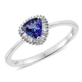 Exclusive Edition ILIANA 18K W Gold AAA Tanzanite (Trl), Diamond (SI/G-H) Ring 1.000 Ct.