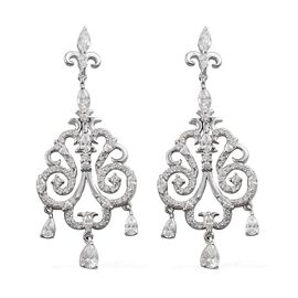J Francis - Platinum Overlay Sterling Silver (Pear) Chandelier Earrings Made with SWAROVSKI ZIRCONIA
