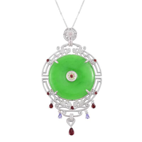 Designer Inspired - Green Jade (Rnd 56.25 Ct), Mozambique Garnet, Tanzanite and Multi Gemstone Pendant With Chain in Rhodium and Platinum Overlay Sterling Silver 59.600 Ct. Silver wt 16.20 Gms.