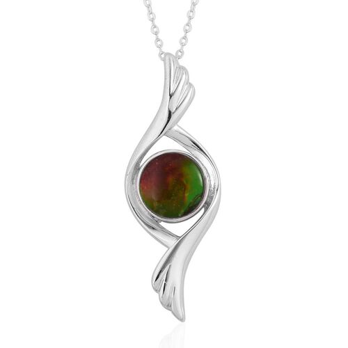 Canadian Ammolite (Rnd) Solitaire Pendant With Chain in Rhodium and Platinum Overlay Sterling Silver 2.000 Ct.