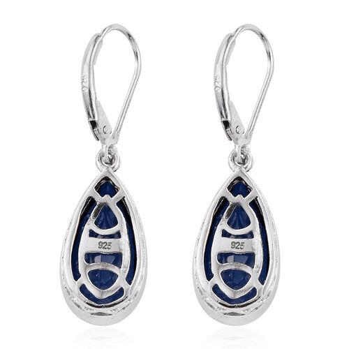 Ceylon Colour Quartz (Pear) Lever Back Earrings in Platinum Overlay Sterling Silver 7.000 Ct.