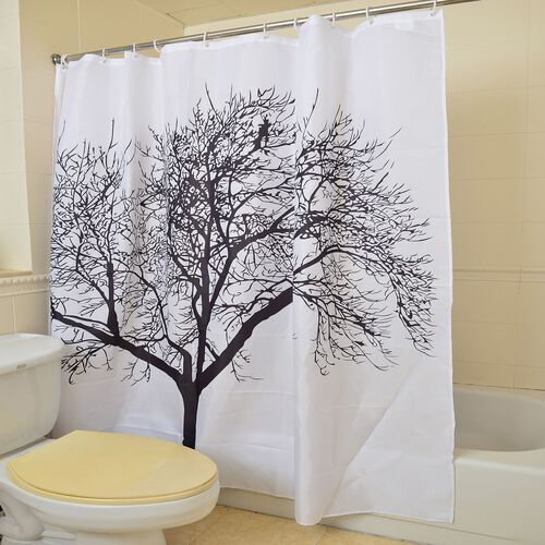 Black and White Colour Snow Tree Pattern Water Proof Shower Curtain with 12 Plastic Hooks (Size 180X180 Cm)