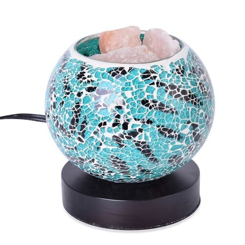 Home Decor - Green and Black Colour Mosaic Glass Table Lamp with Himalayan Salt on a Metal Base with Electric Fitting
