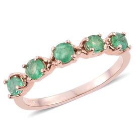 Kagem Zambian Emerald (Rnd) 5 Stone Ring in Rose Gold Overlay Sterling Silver 0.500 Ct.