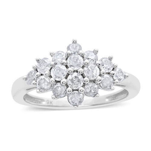 9K W Gold SGL Diamond Diamond (Rnd) (I3/G-H) Ring 1.000 Ct.