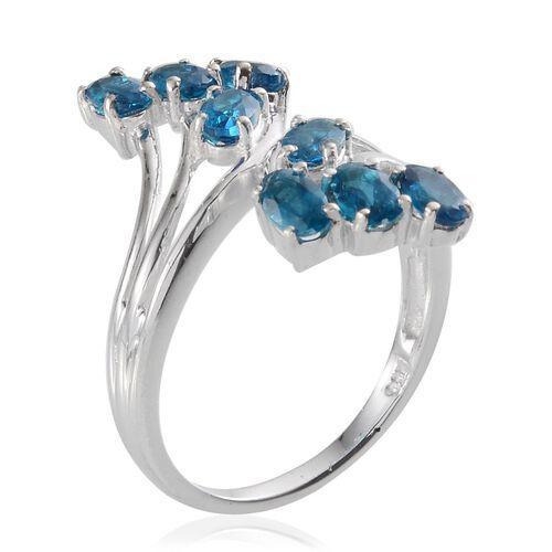 Malgache Neon Apatite (Ovl) Crossover Ring in Platinum Overlay Sterling Silver 2.000 Ct.
