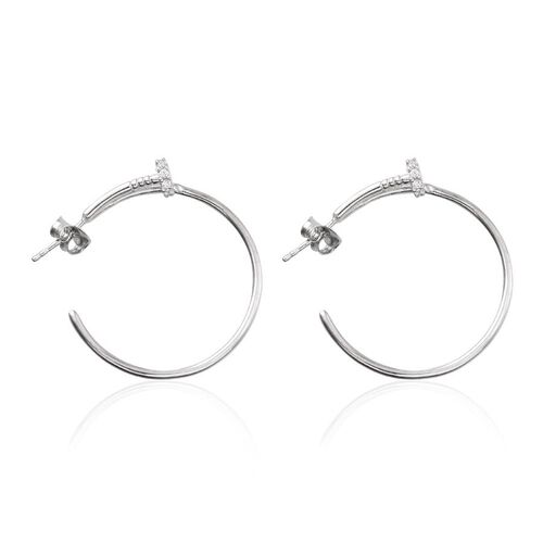J Francis - Platinum Overlay Sterling Silver (Rnd) Earrings (with Push Back) Made with SWAROVAKI ZIRCONIA