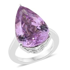 RHAPSODY 950 Platinum 19.80 Ct AAAA Kunzite Pear Solitaire Ring