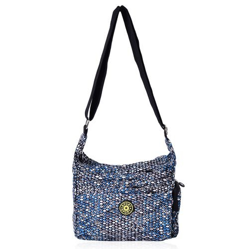 Green, Black and Multi Colour Diamond Pattern Waterproof Sport Bag with External Zipper Pocket and Adjustable Shoulder Strap (Size 25x23x9 Cm)