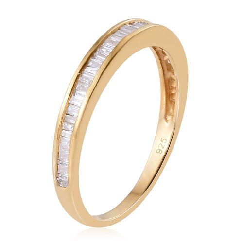 Diamond (Bgt) Half Eternity Ring in 14K Gold Overlay Sterling Silver 0.331 Ct.