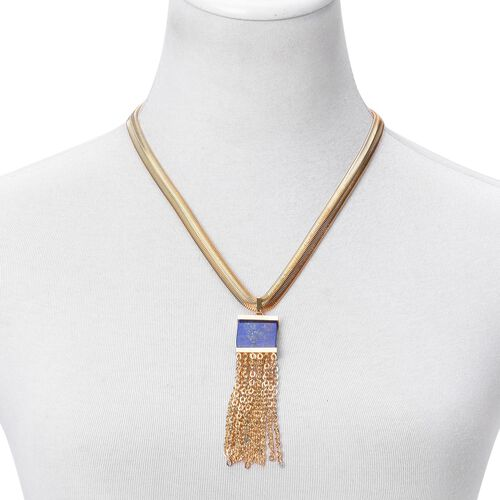 Lapis Lazuli Tassel Necklace (Size 20 with 2 inch Extender) in ION Plated Yellow Gold Stainless Steel 25.000 Ct.