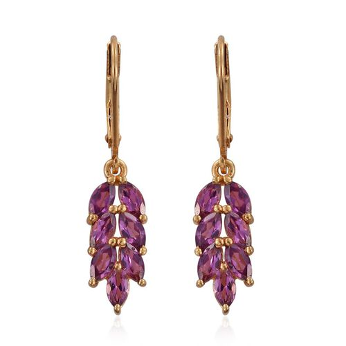 Rare Mozambique Grape Colour Garnet (Mrq) Dangling Lever Back Earrings in 14K Gold Overlay Sterling Silver 2.500 Ct.