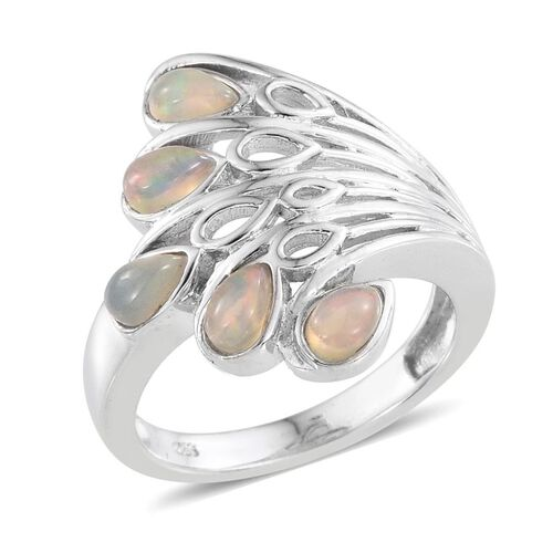 AA Ethiopian Welo Opal (Pear) 5 Stone Ring in Platinum Overlay Sterling Silver 1.000 Ct.