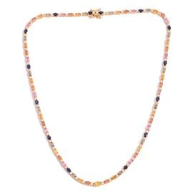 Kanchanaburi Blue Sapphire (Ovl), Yellow, White, Green, Orange and Pink Sapphire Necklace (Size 18) in 14K Gold Overlay Sterling Silver 17.000 Ct.