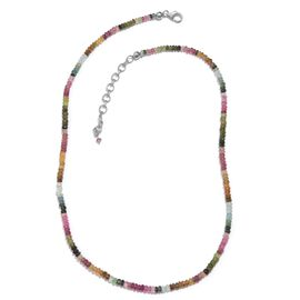 Tuscon Collection-RainbowTourmaline (Rnd) Beads Necklace (Size 18 with 2 inch Extender) in Sterling Silver 45.050 Ct.