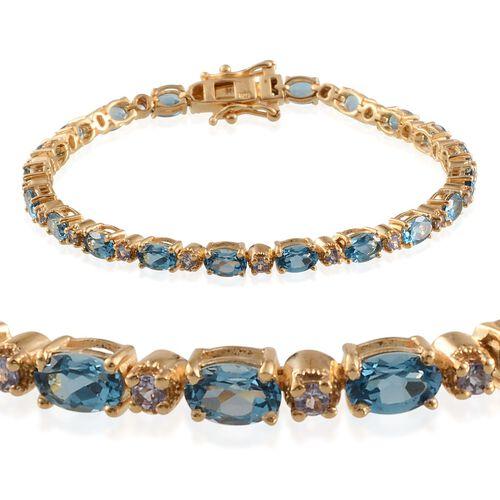 Electric Swiss Blue Topaz (Ovl), Tanzanite Bracelet in 14K Gold Overlay Sterling Silver (Size 7.5) 11.750 Ct.