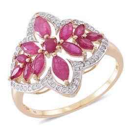 Designer Inspired 9K Y Gold AAA Burmese Ruby (Rnd), Natural Cambodian Zircon Ring 3.500 Ct.