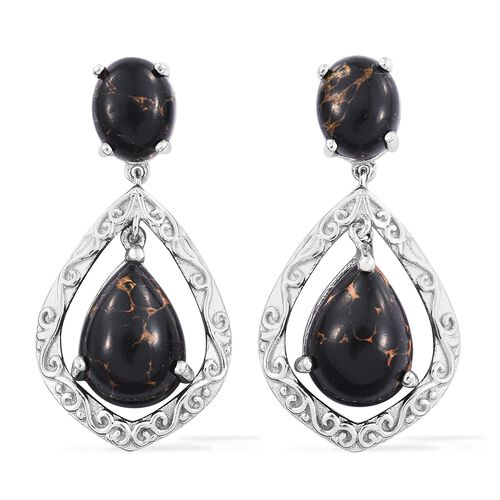 Arizona Mojave Black Turquoise (Pear) Earrings (with Push Back) in Platinum Overlay Sterling Silver 16.000 Ct. Silver wt 6.26 Gms.