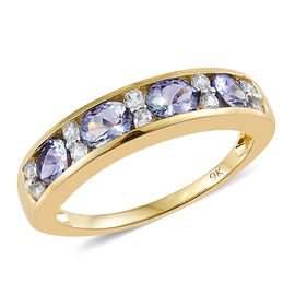 9K Y Gold Peacock Tanzanite (Ovl), Natural Cambodian Zircon Ring 1.750 Ct.
